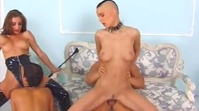 Extreme femdom-style group sex session with slave girlfriends