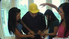 Two dark-haired girlfriends decide to blow a hung tradesman right here