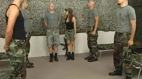 Busty army hottie singles out one private to suck on his privates