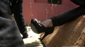 Redheaded girlfriend has a dedicated foot worship slave