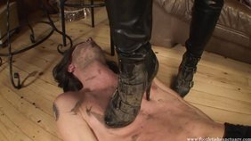 Dirty boots femdom GF trampling her pathetic slave