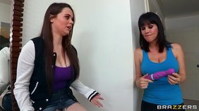 Cunning milf is teaching teen girl how to get a real pleasure