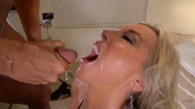 Blond-haired and depraved blowjob aficionado deepthroating her BF's cock