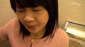 POV blowjob from a Japanese girlfriend in a public toilet, she loves it