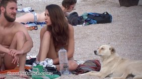 Dark-haired chick loves being naked on a beach, same goes for her BF