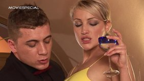 Yellow dress European blonde gets licked and dicked by a hung stud