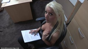 Ponytailed blonde teen does some paperwork while her tits nearly fall out
