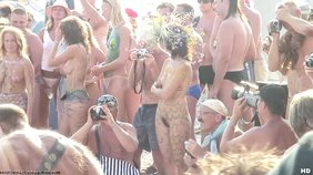 Spy cam footage from this weird nudist celebration featuring hot naked babes