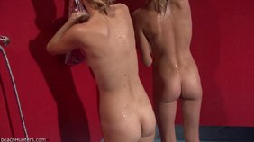 Sexy girlfriends showering together in the nude