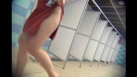 Horny blond-haired GF strips naked in the public shower (spy cam porn)