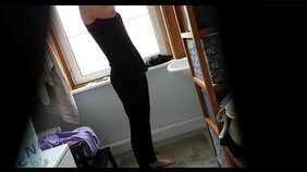 Slender girlfriend in all black decides to strip (spy cam footage in HD)