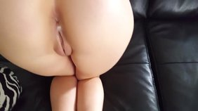 Tatted-up big booty brunette girlfriend riding that cock in reverse cowgirl